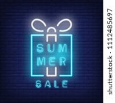 summer sale neon text with gift ... | Shutterstock .eps vector #1112485697