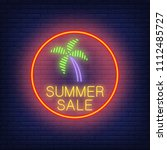 summer sale neon text and palm... | Shutterstock .eps vector #1112485727