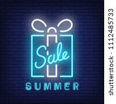 summer sale neon text and gift... | Shutterstock .eps vector #1112485733