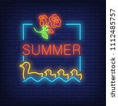 summer neon text in frame with... | Shutterstock .eps vector #1112485757
