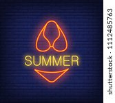 summer neon text and swimsuit.... | Shutterstock .eps vector #1112485763