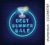 best summer sale neon text and... | Shutterstock .eps vector #1112485787