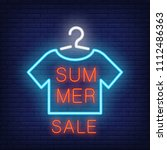 summer sale neon text and t... | Shutterstock .eps vector #1112486363