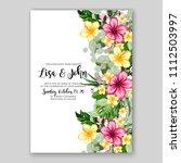 tropical summer floral wedding... | Shutterstock .eps vector #1112503997