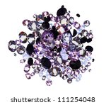 Many small purple diamond (jewel) stones heap isolated on white - stock photo