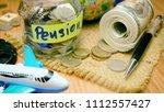 savings money for pension... | Shutterstock . vector #1112557427