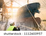 multiple exposure of logistics  ... | Shutterstock . vector #1112603957