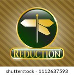 gold emblem with directions... | Shutterstock .eps vector #1112637593