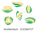 Symbols of cereal plants for agriculture design, such a logo. Jpeg version also available in gallery - stock vector