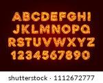 red fluorescent neon font on... | Shutterstock .eps vector #1112672777