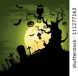 greenish halloween background | Shutterstock .eps vector #111277163