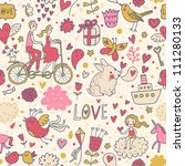 In love with world. Cartoon romantic seamless pattern in vector with a lot of funny vintage elements - stock vector