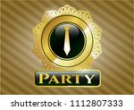 golden badge with necktie... | Shutterstock .eps vector #1112807333