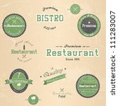 set of vintage retro restaurant ... | Shutterstock .eps vector #111283007