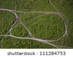 Aerial view of dirt roads - stock photo
