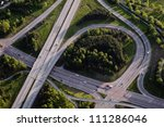 Aerial view of a junction - stock photo
