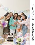group of female friends making... | Shutterstock . vector #111286943