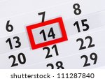 Calender with marked 14th - stock photo