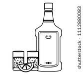 line tequila liquor bottle and...   Shutterstock .eps vector #1112880083