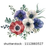 watercolor blue  red and white... | Shutterstock . vector #1112883527