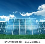 Isolated on white photovoltaic Panel for Alternative Energy - stock photo