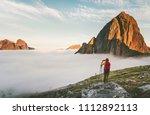 backpacker exploring sunset... | Shutterstock . vector #1112892113