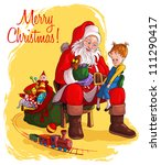 santa claus gives presents to... | Shutterstock .eps vector #111290417