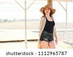 beautiful young stylish woman... | Shutterstock . vector #1112965787