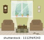 green living room in retro... | Shutterstock .eps vector #1112969243
