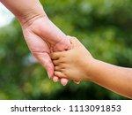 mother's hand holding a little...   Shutterstock . vector #1113091853