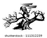 Tattoo of a raven sitting on a tree - stock vector