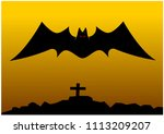 bat and cemetery silhouette... | Shutterstock .eps vector #1113209207