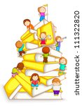 vector illustration of kids climbing in stack of book - stock vector