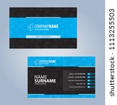 business card template. blue... | Shutterstock .eps vector #1113255503