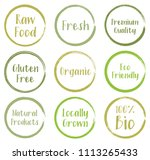 vector green organic labels ... | Shutterstock .eps vector #1113265433