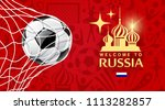 vector soccer ball in net ... | Shutterstock .eps vector #1113282857