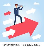 businessman with spyglass... | Shutterstock .eps vector #1113295313