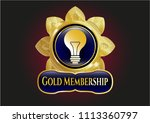 gold badge or emblem with... | Shutterstock .eps vector #1113360797
