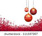 three christmas balls on red... | Shutterstock .eps vector #111337307