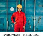 portrait engineering woman at... | Shutterstock . vector #1113378353