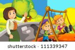 time at the playground  ... | Shutterstock . vector #111339347