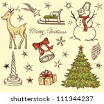 set of christmas design... | Shutterstock .eps vector #111344237