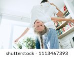 the happy father and his six...   Shutterstock . vector #1113467393