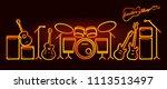 musical instruments neon tubed... | Shutterstock .eps vector #1113513497