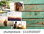 a lot of pictures on the wooden ...   Shutterstock . vector #1113520337