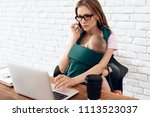 young mother working home with...   Shutterstock . vector #1113523037