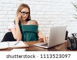 young mother working home with...   Shutterstock . vector #1113523097