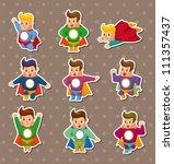 superhero stickers | Shutterstock .eps vector #111357437