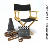 illustration of director's chair with clap board and megaphone - stock photo