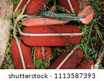 Small photo of fisherman net floater on the grass